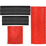 Rubber Empaistic Wood Grain Graining Pattern DIY Grain Painting Tool Wood Graining Painting Tool Wood Texture Graining Tool Household Wall Art Paint for Wall Room Decoration (Black, Red,4 Pieces)