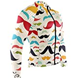 SLHFPX Colorful Mustache Mens Cycling Jersey Coat Long Sleeve Outdoor Bike Skinsuits Outfit