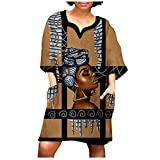 Women's African Vintage Print Dress with Pockets Half Sleeve V Neck Knee Length Gowns Casual Mini Dress Plus Size S-5XL