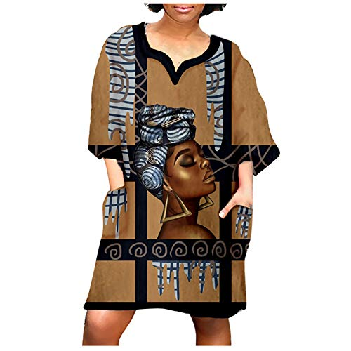 2021 African Vintage Print Mini Dress For Women,Middle Sleeve O-neck Top Hoodie Sweatshirt Pullover T-shirt Blouses Khaki