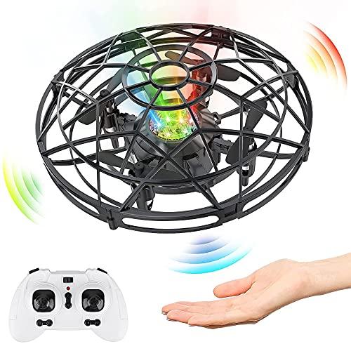 Baztoy UFO Mini Drone, RC Helicopteros Teledirigidos & Control de Mano de 360° Rotación con Luces LED, Juguete Volador Mini Dron Juguete para Niños 3 4 5 6 7 8 9 10 11 Años Regalos Cumpleaños(Plata)