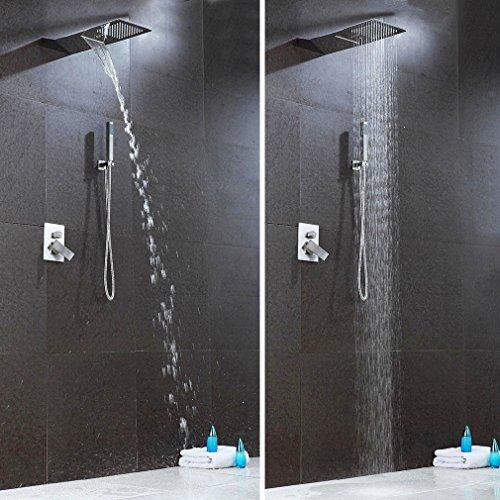 Unterputz Duscharmatur, KAIBOR Unterputz Duschsystem 3 Strahlarten Duschset RainAir,Handbrause und RainFlow Überkopfbrause Regenduschkopf Duschpaneele 55cm*22cm
