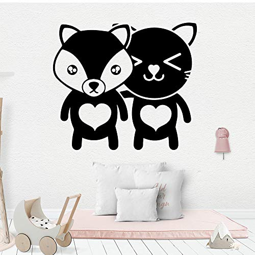 3D Bär Cartoon Wandtattoos PVC Wandkunst Diy Poster Home Dekoration Zubehör Weiß XL 57cm X 64cm