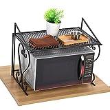Zerone - Estantería para horno de microondas con una sola capa, plancha negra, plegable, para microondas, soporte de cocina, estante de almacenamiento, organizador de 54,5 x 36 x 42,5 cm