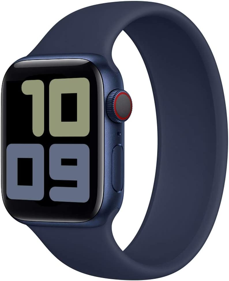 Strawberry Apple Pie - Solo Loop Band Compatible with Apple Watch Bands Replacement Sport Strap Silicone Wristband Men Women for Iwatch Series 6/SE/5/4/3/2/1 40mm 38mm Deep Navy 42mm 44mm Size 12