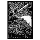 artboxONE Poster 45x30 cm Städte Retro Karte von Luzern