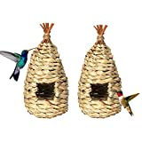 Uniyou Hand-woven Nest Cage Hanging Hummingbird Bird House Natural Comfortable Grass Birdhouse for Finch Parrots Canary Outside Roosting Breeding and Nesting Behavior(2 PACK)