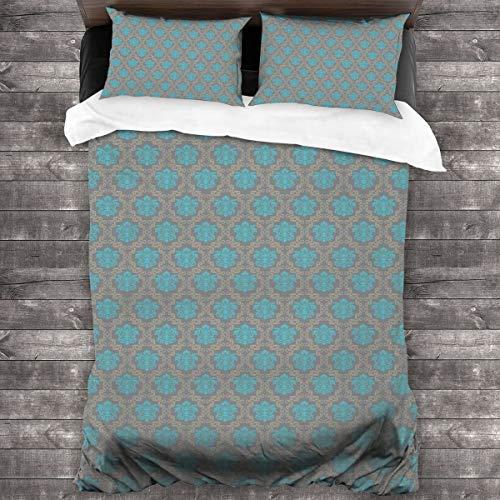 ZUL Duvet Cover Set,Venetian Style Damask Swirled Lines And Blossoms Italian Flourish,Decorative 3 Piece Bedding Set with 2 Pillow Shams,220 * 260cm*1