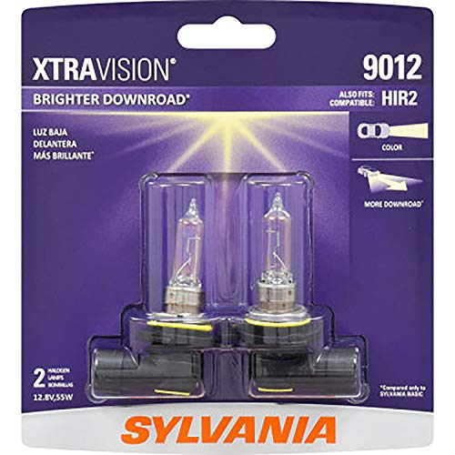 SYLVANIA - 9012 XtraVision - High Performance Halogen Headlight Bulb, High Beam, Low Beam and Fog Replacement Bulb (Contains 2 Bulbs)