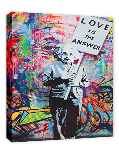 Einstein 'Love is the Answer' Colorful Figure Street Graffiti - FRAMED - Canvas Print Home Decor Wall Art, Gallery Wrap Inner Frame, 7x9