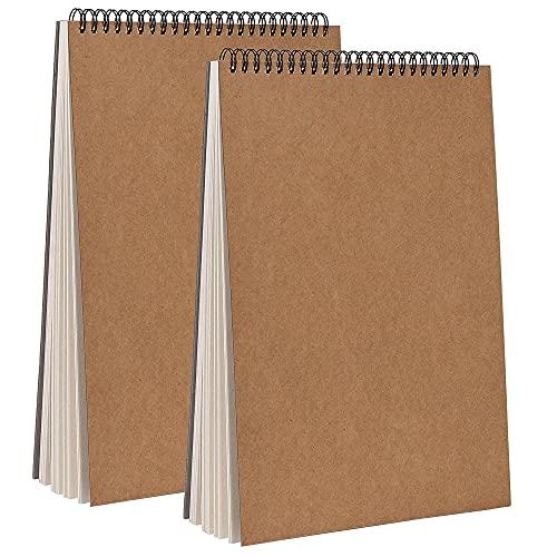 Quaderno da Disegno Spiralati A4, 2 PCS Copertina Kraft Blocco Note, Sketchbook A5 Spiralati, Sketchbook A4, Sketchbook A5, Quaderno Schizzi Pagine Bianche, Copertina Rigida Fogli da Disegno