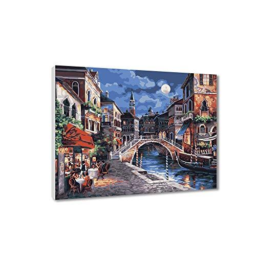 Pintura por números para niños y adultos Kits de regalo de pintura al óleo de bricolaje con marco de madera Impreso en lienzo Arte Decoración del hogar-Moonlight Ancient Town 40 * 50cm