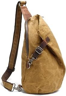 Waterproof Batik Backpack Vintage Chest Bag Men Khaki Canvas Shoulder Bag Casual Dupling Type Backpack (Color : Yellow, Size : S)