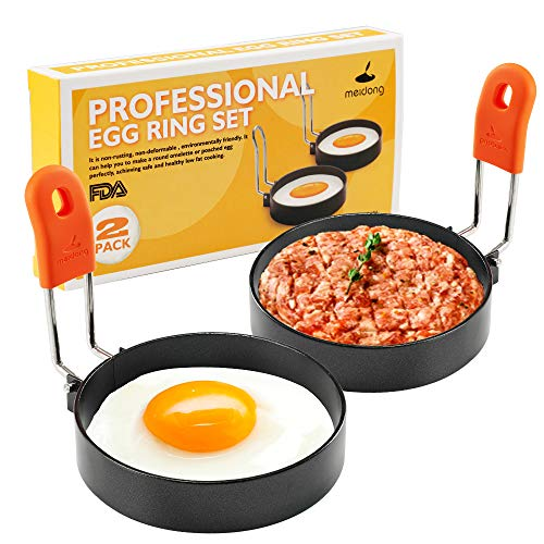 Stainless Steel Egg Rings Round Breakfast Household Mold Tool Cooking Non Stick Circle Shaper Egg Rings For Frying Meat Pie Sandwiches Egg Maker Molds Set 2 Pack