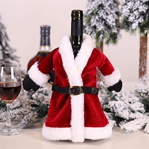 CAVIVI Weihnachten Weinflasche Covers Rotwein Kleid Rock Weihnachten Esstisch Set Flasche Dekoration für Weihnachtsschmuck Hässliche Pullover Partydekorationen,rot