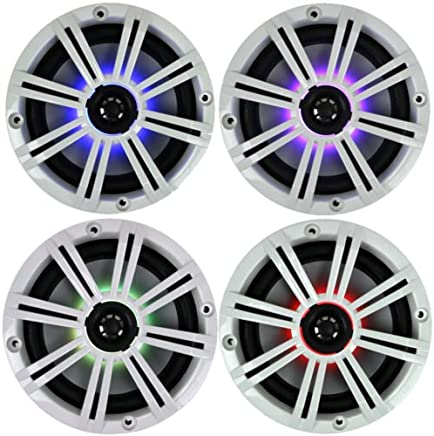 """$239 Get 2- Pair (4-Speakers) Multi Color LED Lights Kicker 6.5"""" 195W Marine Audio Coaxial Stereo White Grills"""