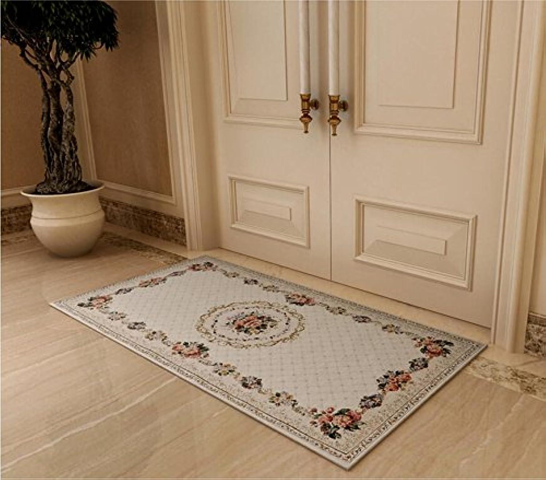 SE7VEN Chenille Jacquard Door mat Bedroom Bedside mats European Pastoral Hall Foot mat-A 70x140cm(28x55inch)