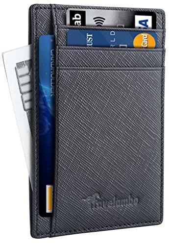 Travelambo Front Pocket Minimalist Leather Slim Wallet RFID Blocking Medium Size(Black Cros)