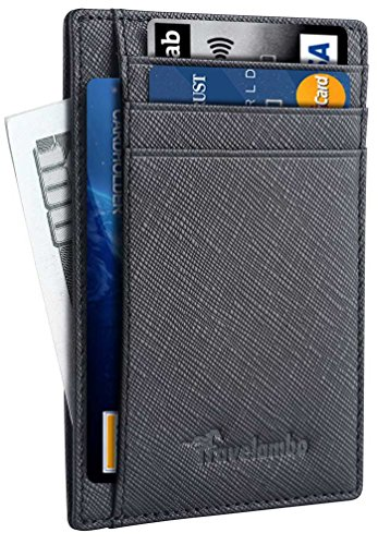 Travelambo Front Pocket Minimalist Leather Slim Wallet RFID Blocking Medium Size(04 Crosshatch Black)
