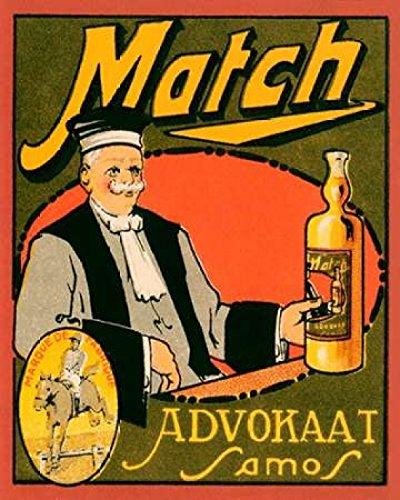 The Poster Corp Vintage Booze Labels – Match Advokaat Samos Kunstdruck (60,96 x 76,20 cm)
