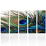 Wall Art for Living Room Bedroom Decoration Peacock Painting Canvas Print Framed Art Animal Feather Plume Modern Art for Office Wall Décor Teal Blue Green 5 Panels
