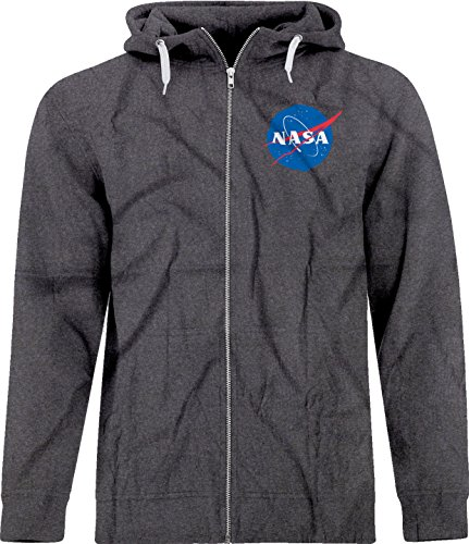 BSW Unisex NASA Space Astronomy Crest Zip Hoodie MED Dark Heather