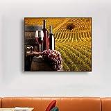 SADHAF Verre vin vignoble Mur Art Affiche et Impression Toile Impression Famille Salon Chambre décoration A2 40x50 cm