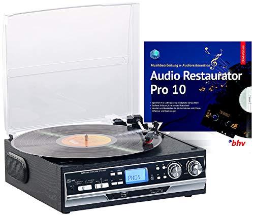 Q-Sonic USB Plattenspieler: 4in1-Plattenspieler mit Bluetooth, Digitalisier-Funktion und Software (Plattenspieler mit Lautsprecher)