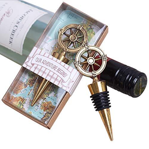Bomboniera Tappo Acciaio di bottiglia Vino Mappa mondo Forma timone bussola modello antiage vintage viaggio