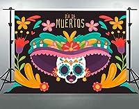 パーティーのための死者の日HD10x7ftソフトコットンディアデムエルトススカルメキシコの花写真の背景テーマフェスティバルパーティーの装飾用品YouTube写真撮影の小道具DSFS511