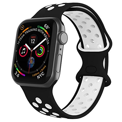 Adepoy para Apple Watch Pulsera, suave y transpirable Reemplazo de pulsera de silicona impermeable compatible para iWatch 38 mm 40 mm 42 mm 44 mm y Series 5/4/ 3/2/ 1, negro y blanco, 38mm/40mm-S/M