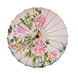 Serenable Classical Chinese Style Rainproof Umbrella Sunshade Silk Cloth Oriental Parasol with Peony Painting - Peony, 84cm
