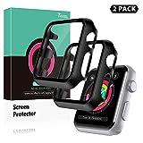 TOCOL [2 Pezzi] Vetro temperato Apple Watch 3/2/1 38mm, Pellicola Protettiva e Custodia Stampaggio Integrato, [Contro i Graffi], Paraurti Rigido Opaco Protezione Completa - Nero