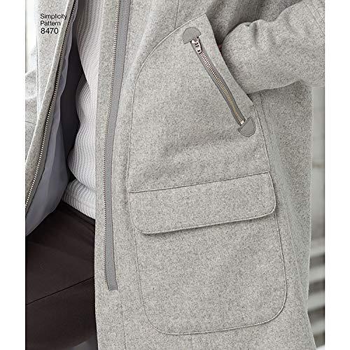 Simplicity 8470Pattern 8470 Damen Mantel mit Kragen oder Kapuze und Taschen, Gr. 34-40, Papier/Weiß, H5 (36-38)