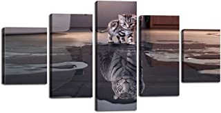 Inspiration Wall Art 5 Panels Small Cat Big Tiger Canvas Painting Cute Animal HD Prints Pictures Poster Artwork Giclee for Living Room Home Decor Wooden Framed Stretched Ready to Hang (60''Wx32''H)
