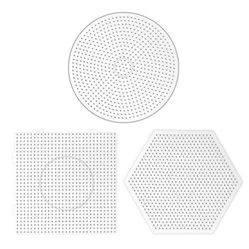 EXCEART 3 Stücke Bügelperlen Steckplatte Kunststoff Bügelplatte 5mm Perlen Platte Quadrat Sechseck Rund Steckperlen Werkzeug DIY Perlen Handwerk Zubehör Pädagogisches Spielzeug