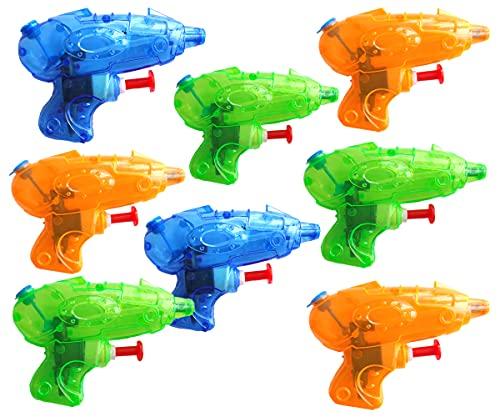 KINPARTY  8 x Pistolas de Agua Transparente, Cumpleaños, Fiestas en la Piscina Aire Libre