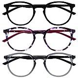 Opulize Met Pack 3 Gafas De Distancia Corto De Vista Miopía Grande Negro Púrpura Gris Hombres Mujeres Bisagras Resorte MMM60-157 -1,50