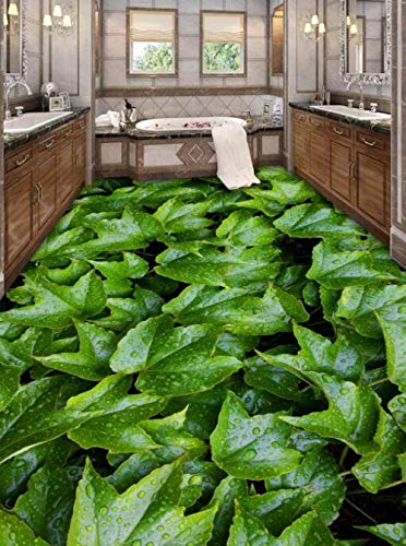 Zelfklevende 3D Aangepaste Groene Bladeren Bekijk Muursticker Zeesterren Badkamer Vloeren Schilderen Fotobehang voor Muren 350cm(L)x245cm(W)