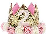 Hitopin 1 Piezas Corona de Cumpleaños de Bebé con Números'2' Estilo Princesa Bebé Flor Corona Corona Diadema Cumpleaños Accesorios para el Cabello (Rosa)