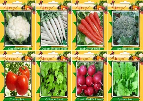 FERRY Hohe Wachstum Seeds Nicht NUR Pflanzen: Seed Blumenkohl, Rot, Brokkoli, Rübe Red Ball, Spinat, Tomaten und Koriander Gemüse-Samen (Packung mit 20 Samen * 8 Pro Paket) Seed (20 pe
