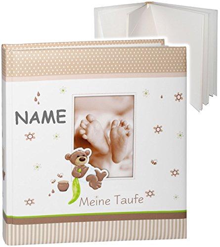 großes Fotoalbum -  Meine Taufe  - incl. Name __ süßer Teddy Bär & Babyfüße __ Taufalbum - Gebunden zum Einkleben & Eintragen - blanko weiß - groß 60 Seiten..