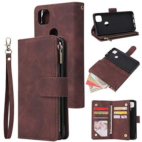 Kompatibel mit Google Pixel 5 Brieftaschen-Hülle, Lederreißverschluss, Magnetverschluss, 6 Kartenfächer, Geldbörsen-Schutz, kompatibel mit Pixel 5 (Kaffee, Pixel 5)