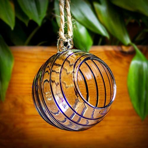 Mitienda glasfabriek Esfera, terrarium decoratieve vaas blauw om op te hangen, raamdecoratie 15 cm, cadeau-idee, tafelvaas bloemenvaas Kerstmis