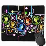 Red informática moderna Diseños de personalidad antideslizantes Alfombrilla de ratón para juegos Alfombrilla de ratón rectangular de tela negra Alfombrilla de ratón de goma natural con bordes cosidos