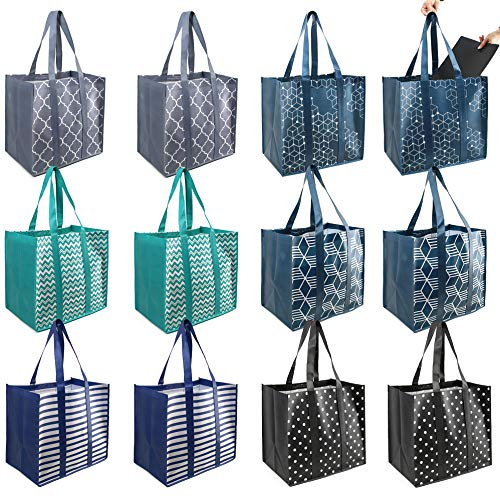 BeeGreen 12 Pieces Reusable Grocery Bags Extra Large Shopping Totes with Removable Bottom Durable...
