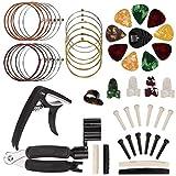kit di accessori per chitarra, 51 pcs inclusi avvolgitore per corde tutto in 1, plettri, capotasto, corde per chitarra acustica, perno per ponte, per a principianti violino ukulele basso