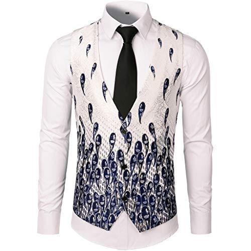 FRAUIT Mannen print pak vest button mouwloos jack hemd Western vest heren pak vest slim fit gilet business pak vest voor heren