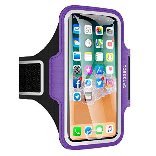 Arteesol Armbinde, wasserabweisender Handy-Halter für das Lauftraining, 5,2 Zoll, mit Fingerabdruck-Touch für iPhone X/8/7/6/5, Samsung Galaxy S7/S6/S4, Samsung Galaxy Note 4, LG, Moto