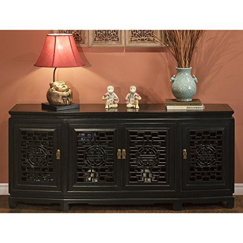 ChinaFurnitureOnline Elmwood Oriental Sideboard, 72 Inches, Longevity Design Carving, Black Finish